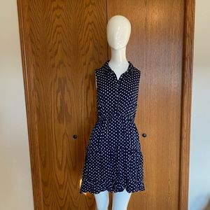 HEM+THREAD BLUE POLKA DOT DRESS •medium